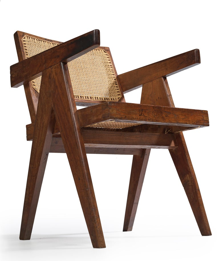 Pierre Jeanneret, Office Cane Chair, PJ-SI-28-B, circa 1955 In Fair Condition For Sale In Paris, FR