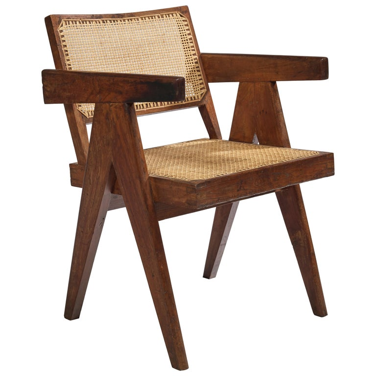 Pierre Jeanneret, Office Cane Chair, PJ-SI-28-B, circa 1955 For Sale