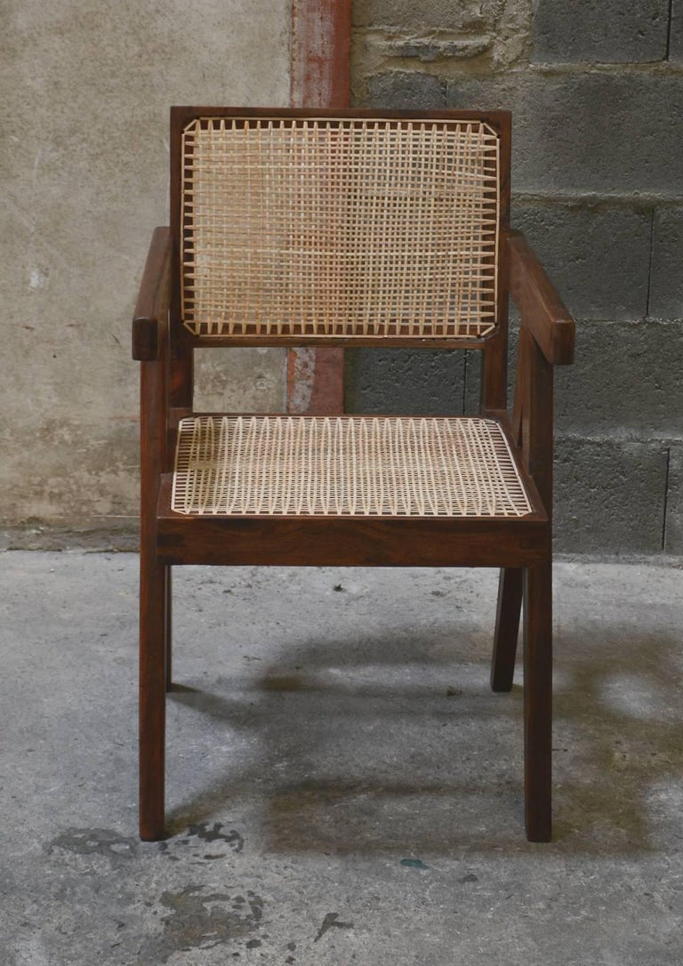 Pierre Jeanneret Cane And Teak Wood Office Armchair From Administrative Buildings In Chandigarh India