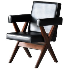Pierre Jeanneret, Office Chair, Teak and Black Leather, Chandigarh, 1960