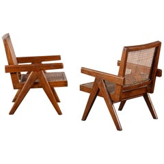 Pierre Jeanneret Pair Easy Chairs / Authentic Mid-Century Chandigarh PJ-SI-29-A