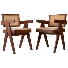 Pierre Jeanneret Pair of Floating Back Office Chairs, Circa 1959