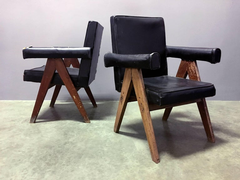 Pair of authentic, unrestored Committee chairs by Pierre Jeanneret from Chandigarh, India, c. 1953-54. Two pairs available. Sold in pairs, only. Price is $24,000 per pair. Chairs vary slightly in dimensions due to handmade nature of the design.