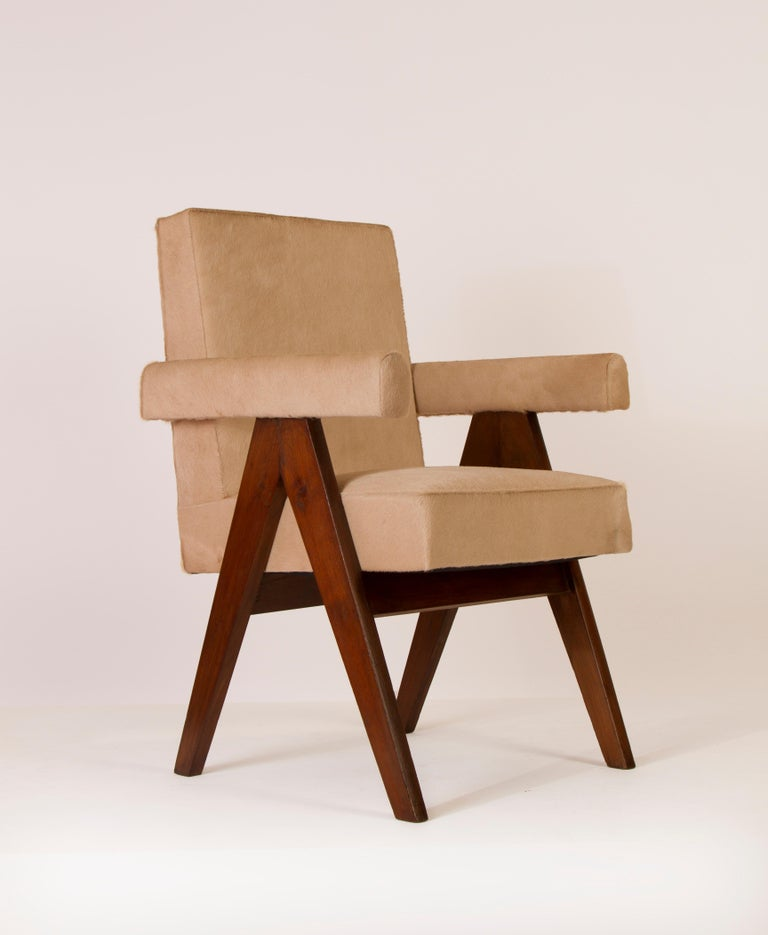 Pierre Jeanneret pair of Upholstered Commettee armchairs in teak, upholstered in cow skin. Provenance: Assembly, High Court,  Chandigarh, India.