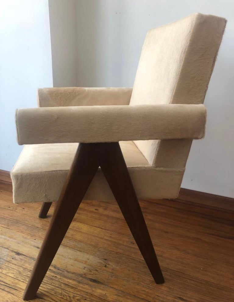 Mid-Century Modern Pierre Jeanneret Pair of  Upholstered Committee Armchairs, Circa 1954 For Sale