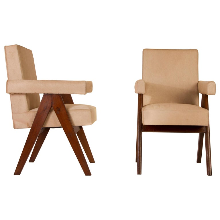 Pierre Jeanneret Pair of  Upholstered Committee Armchairs, Circa 1954 For Sale