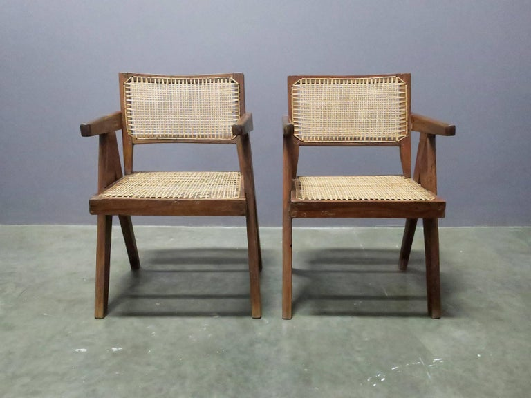 "Indian Pierre Jeanneret Pair of ""V-leg"" Armchairs For Sale"