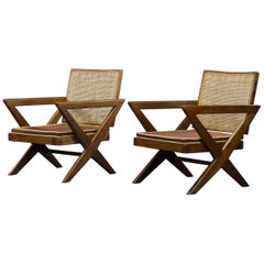 Pierre Jeanneret Pair of X-Leg Chairs Authentic Midcentury PJ-SI-45-A