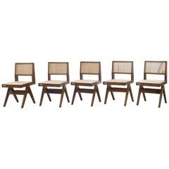 Pierre Jeanneret PJ-SI-25-A Set of 8 Chairs / Authentic