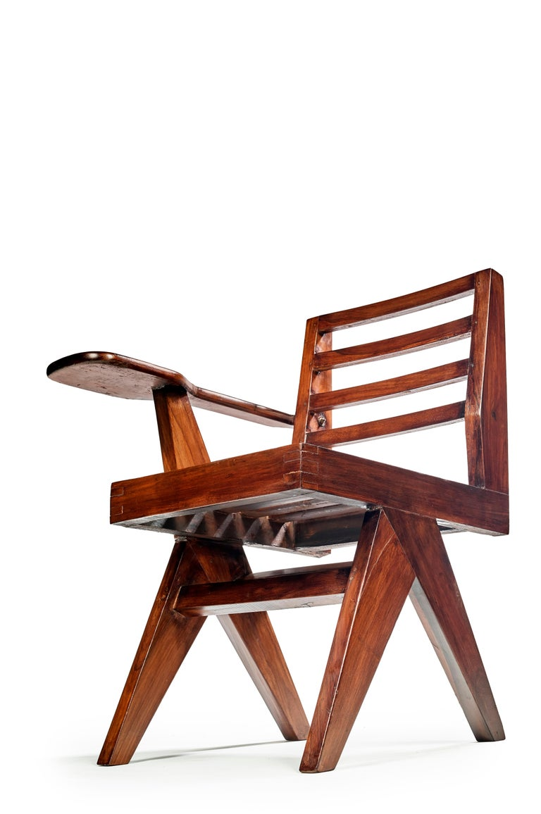 Indian Pierre Jeanneret, PJ-SI-26-G, Writing Chair For Sale