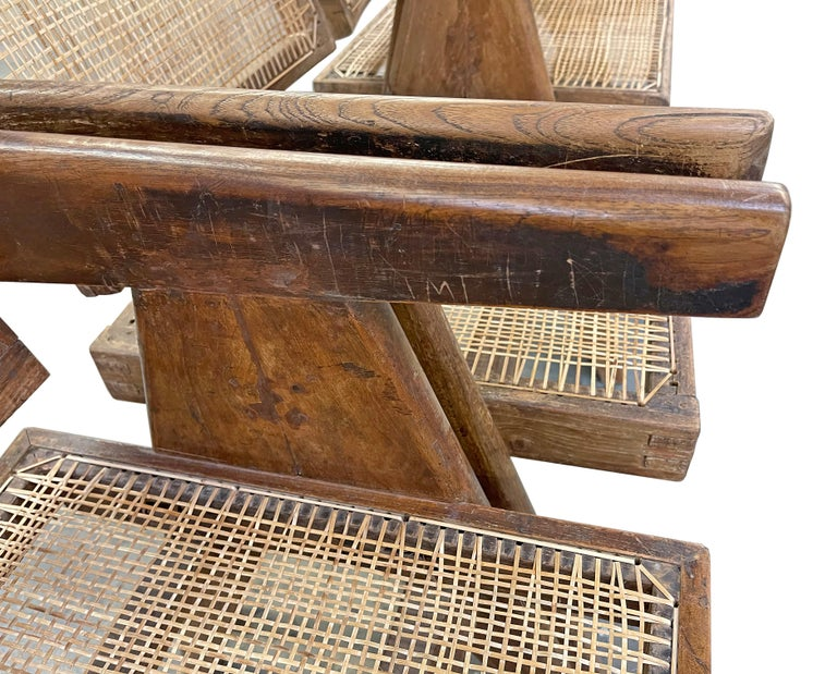 Pierre Jeanneret PJ-SI-28-A Dining Chairs Set of 10 in Teak For Sale 8