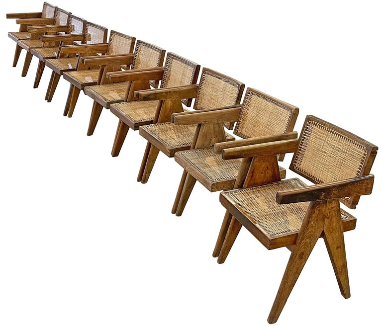 Mid-Century Modern Pierre Jeanneret PJ-SI-28-A Dining Chairs Set of 10 in Teak For Sale