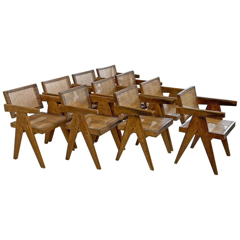 Pierre Jeanneret PJ-SI-28-A Dining Chairs Set of 10 in Teak For Sale