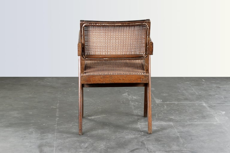Indian Pierre Jeanneret Office Cane Chair  Authentic Mid-Century Modern PJ-SI-28-B