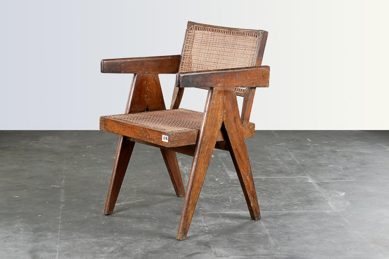 Mid-20th Century Pierre Jeanneret Office Cane Chair  Authentic Mid-Century Modern PJ-SI-28-B