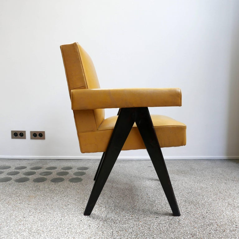 "Pierre Jeanneret PJ-SI-30-A  Important : vintage collector's item for sale with guaranteed authenticity.  Armchair called ""Committe armchair"", circa 1953-1954 Solid teak wood, Yellow leather.  Bibliography: Eric Touchaleaume & Gérald Moreau, ""Le"