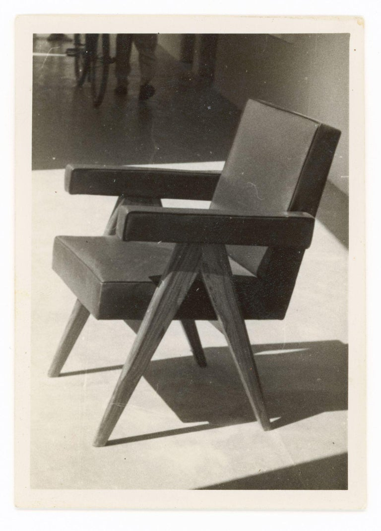 Leather Pierre Jeanneret, PJ-SI-30-D, Committee Armchair, Chandigarh, circa 1955 For Sale