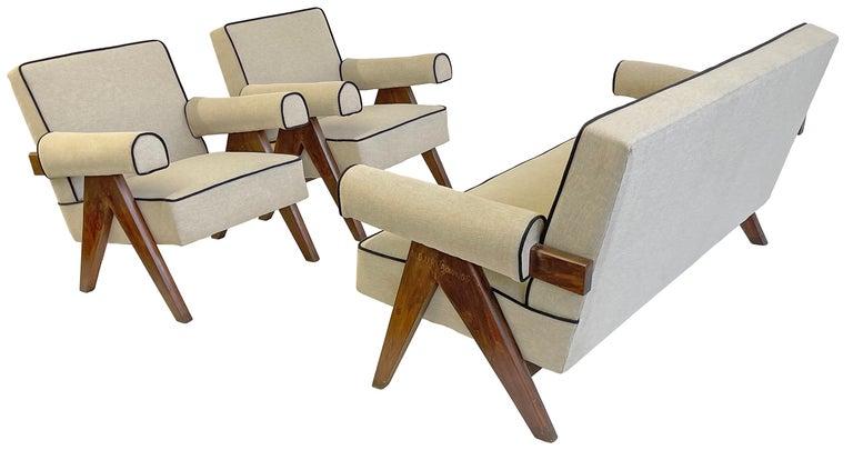 Indian Pierre Jeanneret PJ-SI-32-B Upholstered Sofa For Sale