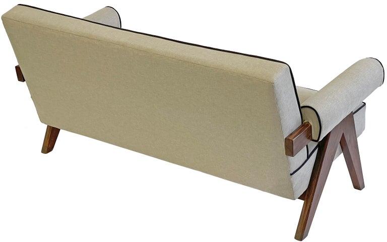 Teak Pierre Jeanneret PJ-SI-32-B Upholstered Sofa For Sale