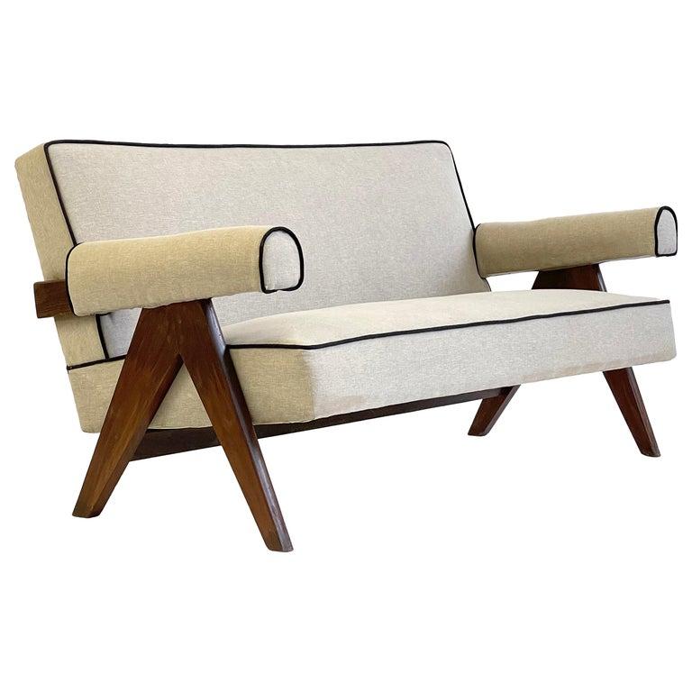 Pierre Jeanneret PJ-SI-32-B Upholstered Sofa For Sale