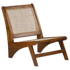 Pierre Jeanneret PJ-SI-60-A, Authentic Low Caned Armless Easy Chair