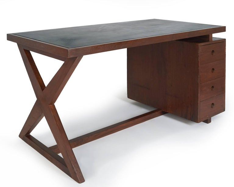 Mid-Century Modern Pierre Jeanneret: Rare and Spectacular Chandigarh Desk, France/ India c. 1960 For Sale