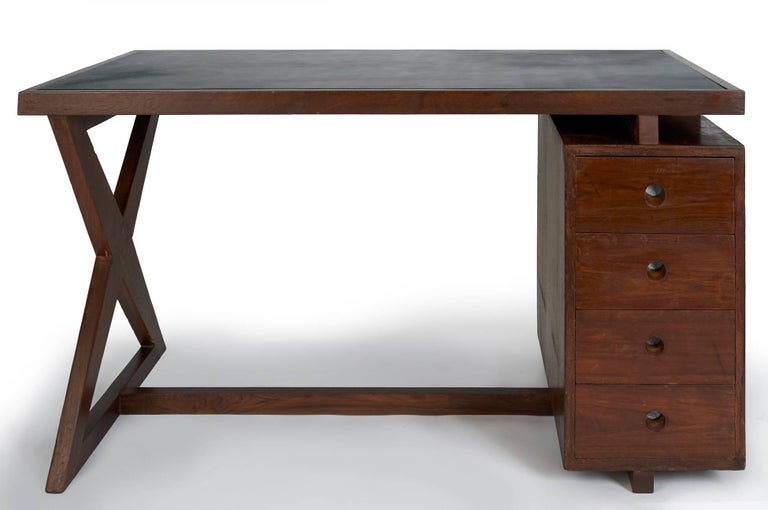 French Pierre Jeanneret: Rare and Spectacular Chandigarh Desk, France/ India c. 1960 For Sale