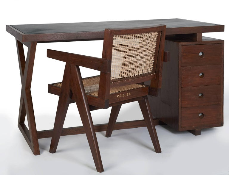 Mid-20th Century Pierre Jeanneret: Rare and Spectacular Chandigarh Desk, France/ India c. 1960 For Sale