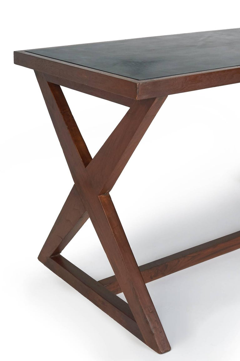 Aluminum Pierre Jeanneret: Rare and Spectacular Chandigarh Desk, France/ India c. 1960 For Sale