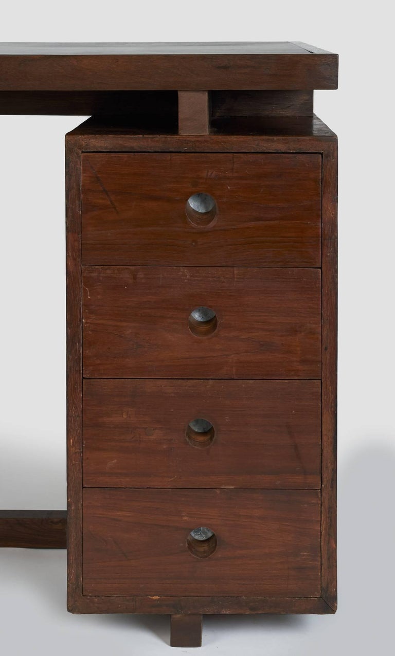 Pierre Jeanneret: Rare and Spectacular Chandigarh Desk, France/ India c. 1960 For Sale 1