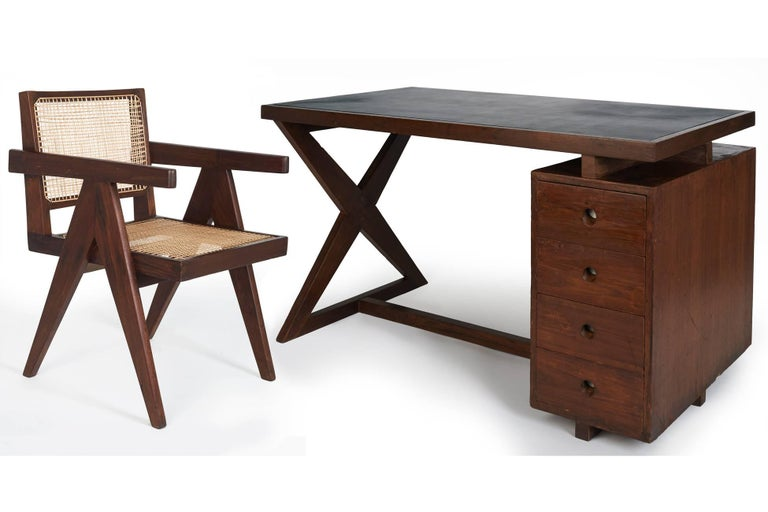 Pierre jeanneret: rare and spectacular chandigarh desk france