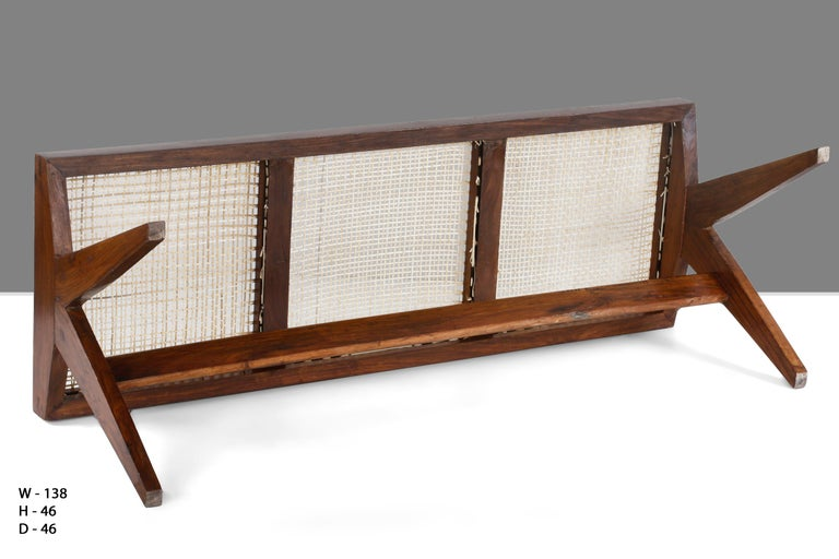 Pierre Jeanneret, Rare Chandigarh Caned Bench, PJ-SI-33-C For Sale 1