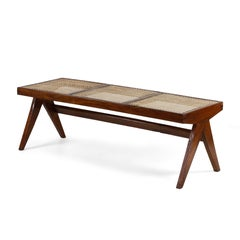 Pierre Jeanneret, Rare Chandigarh Caned Bench, PJ-SI-33-C