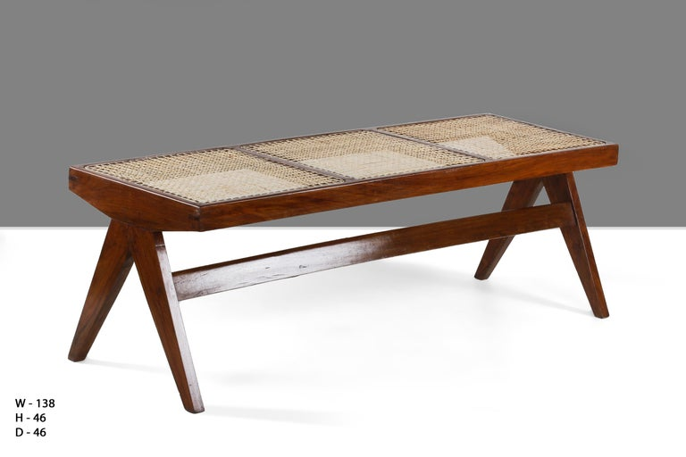 Mid-Century Modern Pierre Jeanneret, Rare Chandigarh Caned Bench, PJ-SI-33-C For Sale