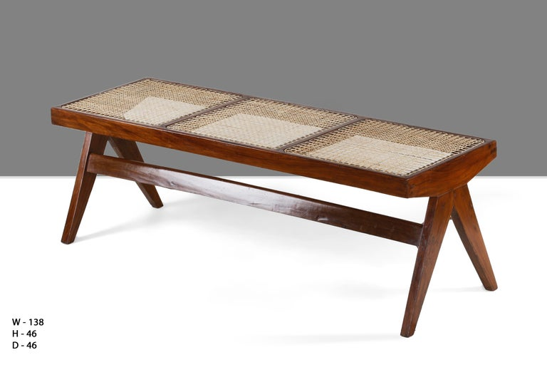 Indian Pierre Jeanneret, Rare Chandigarh Caned Bench, PJ-SI-33-C For Sale