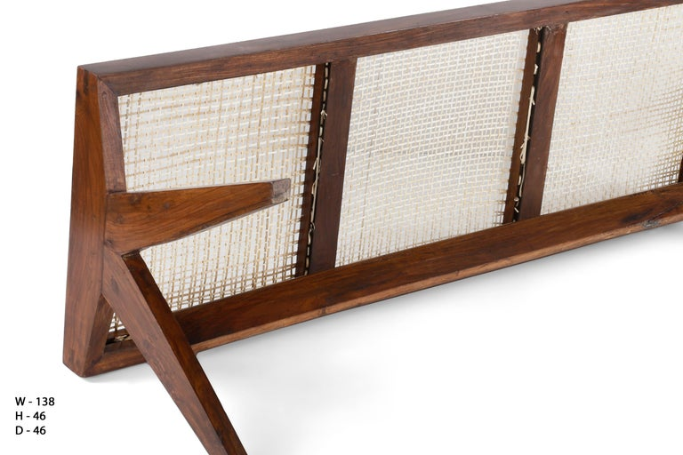 Pierre Jeanneret Rare Chandigarh Caned Bench Pj Si 33 C