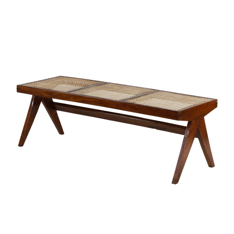Pierre Jeanneret, Rare Chandigarh Caned Bench, PJ-SI-33-C For Sale