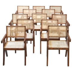 Pierre Jeanneret, Rare Set of 12 Chairs