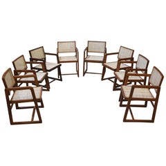 Pierre Jeanneret Rare Set of 8 Cane Back Office Chairs with Original Letterings