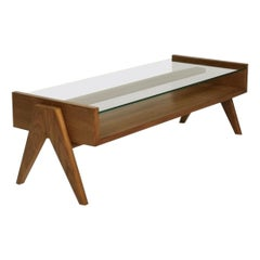 Pierre Jeanneret, Rectangular Low Table with Glass Top, Contemporary Reedition