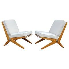Pierre Jeanneret Scissor Lounge Chairs for Knoll Associates in Birch & Boucle