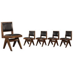 Pierre Jeanneret Set of 4 Chairs |  Authentic Mid-Century Modern | PJ-SI-25-E