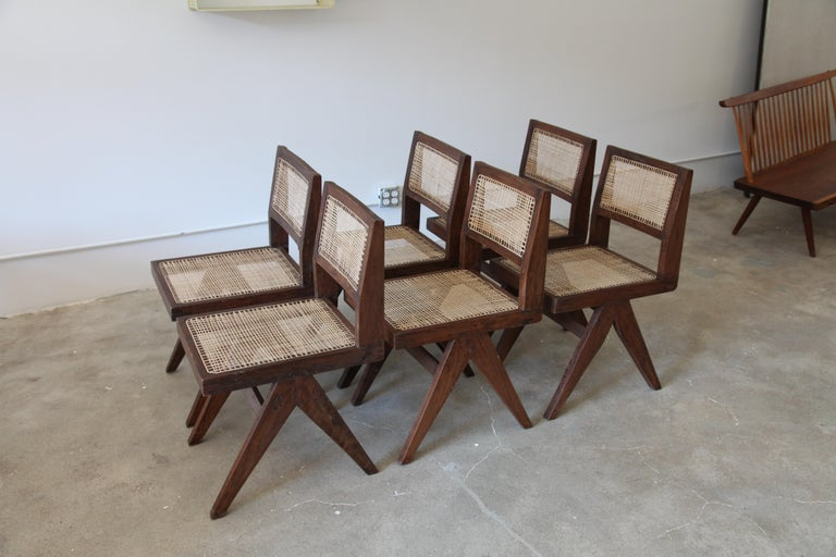 Indian Pierre Jeanneret, Set of 6 Armless V-Leg Chairs from Chandigarh, circa 1955 For Sale
