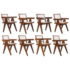 Pierre Jeanneret Set of 8 Chairs / Authentic Mid-Century Modern PJ-SI-28-B