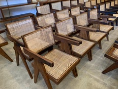 Pierre Jeanneret, Set of 8 V-Leg Armchairs from Chandigarh, circa 1955