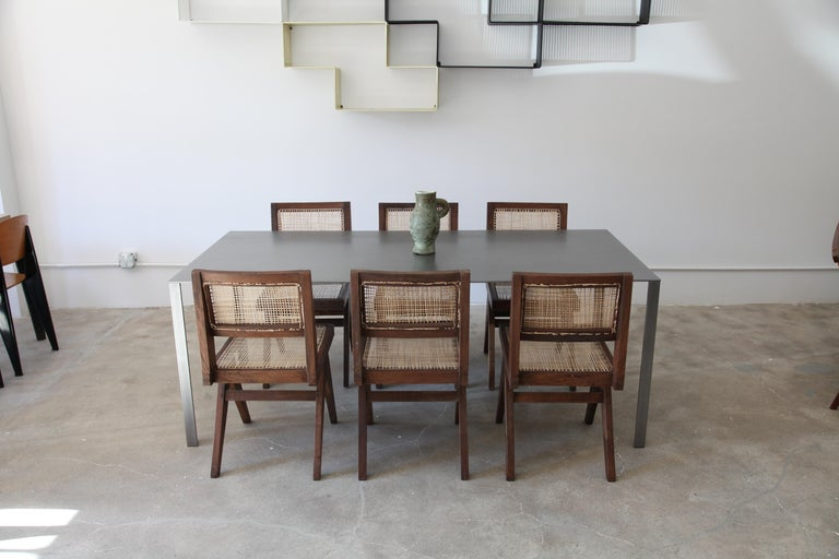 Pierre Jeanneret, Set of 8 Armless V-Leg Chairs from Chandigarh, circa 1955 In Excellent Condition For Sale In Brooklyn, NY