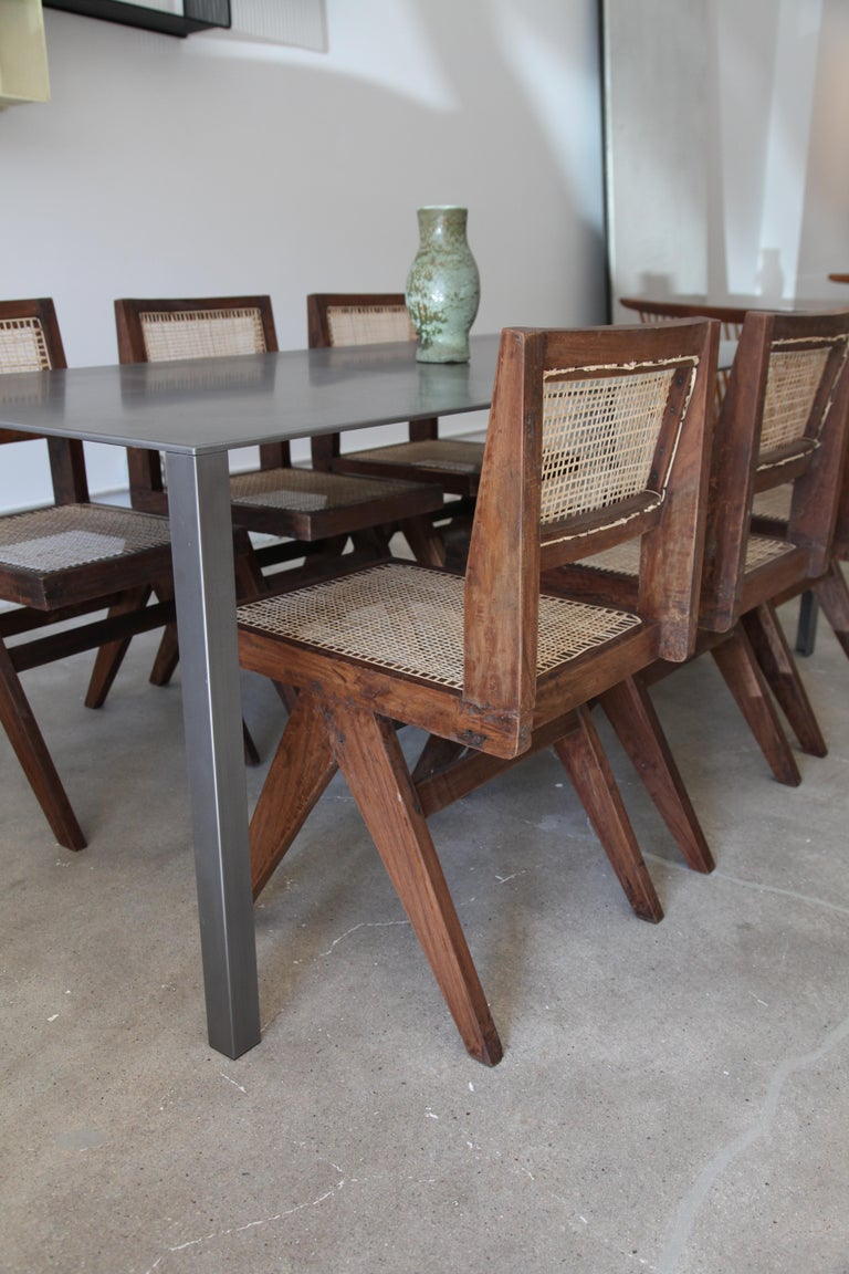 20th Century Pierre Jeanneret, Set of 8 Armless V-Leg Chairs from Chandigarh, circa 1955 For Sale