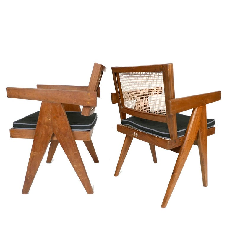 Rare set of 6 Pierre Jeanneret armchairs, model PJ-SI-28-B, France/ India. Teak, cane, upholstery. 1953. Provenance: Punjab University, then Important Private New York Collection. Literature: Le Corbusier Pierre Jeanneret, The Indian Adventure,