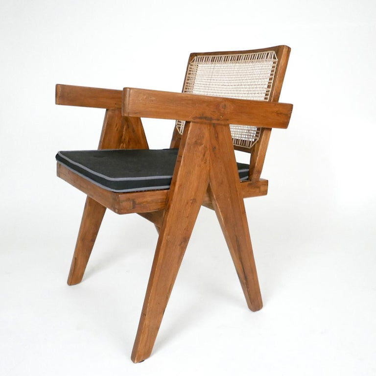 French Pierre Jeanneret Set of Six Armchairs, Model PJ-SI-28-B For Sale