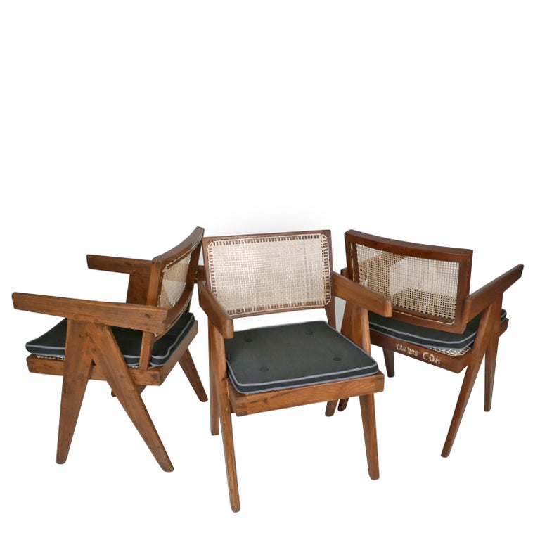 Upholstery Pierre Jeanneret Set of Six Armchairs, Model PJ-SI-28-B For Sale